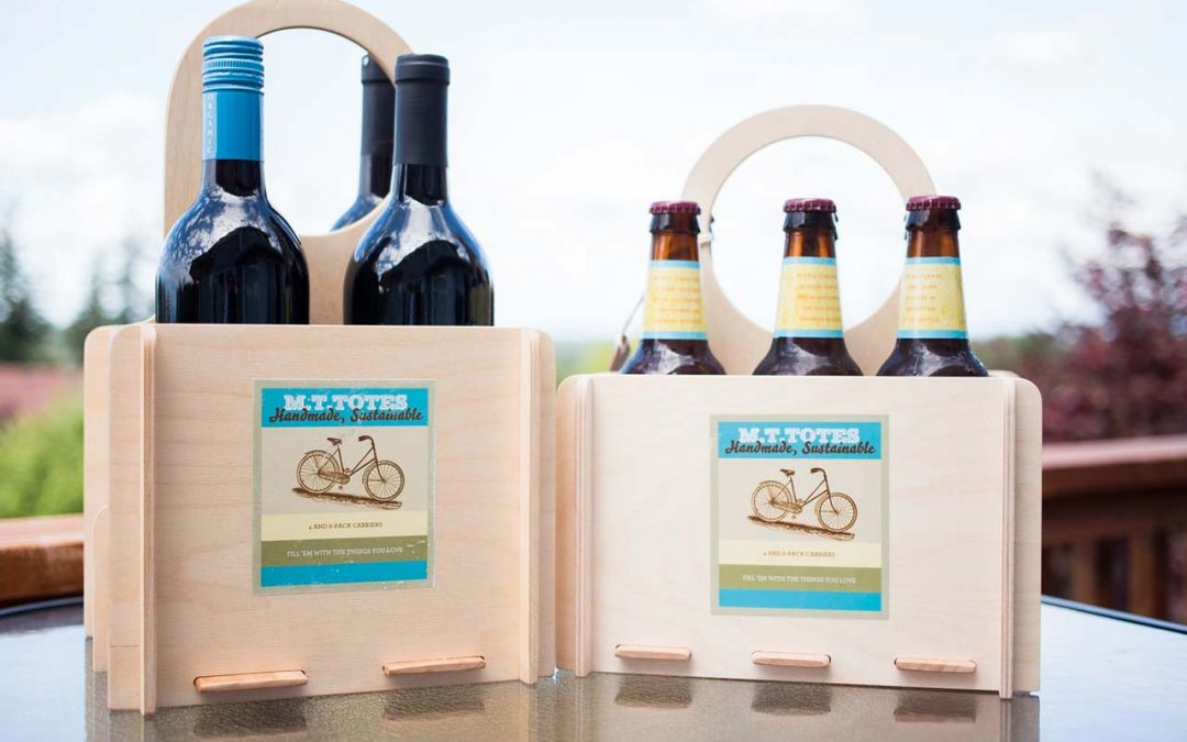 wooden tote box with wine and beer